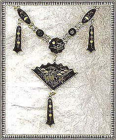 Vintage K24 Japanese Metalwork Damascene Fan Necklace