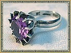 Vintage Silver Syn. Alexandrite Ring Mexico Assay JR