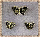 Vintage Amita Butterfly Earring Pin Damascene Metal