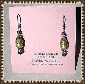 22K Gold Sterling Vermeil Earrings Green Pearl Plum