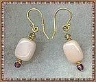 Gold on Sterling Pink Opal Green Sapphire Earrings