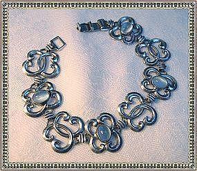 Vintage W R E Sterling Bracelet Blue Moonstone Glass
