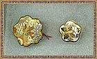 Vintage Japanese Satsuma Lotus Shape Button Floral Butterfly Duo