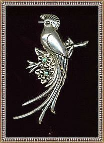 Vintage Bold Silver Mexico Repousse Bird Brooch