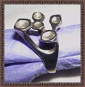 Vintage Signed Modernist Sterling Ring Sculptural Pods