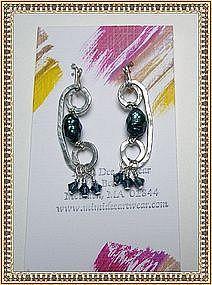Signed Sterling Silver Studio Earrings by MIMI DEE
