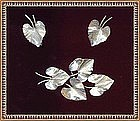 Vintage Sterling Silver Rhodium Leaf Pin Earrings Set