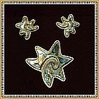 Vintage Hecho en Mexico Mark Abalone Sterling Pin Earring Star Fish