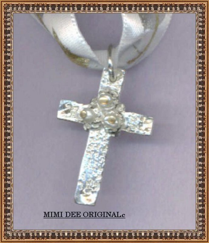 Marked HANDMADE Highest Silver Cross 3 White Pearls
