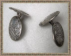 Antique Nouveau Double Sided Sterling Silver Cufflinks