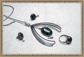 Vintage Modernist Signed Sterling Silver Chain Pendant Ring Earrings
