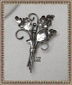 Vintage Signed BAER Sterling Silver Pin Leaf Hand Made