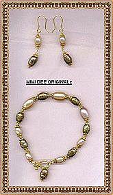 22K Gold on Sterling Vermeil Bracelet Set Pink Pearl