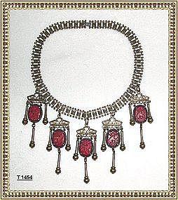 Vintage Art Deco Red Pierced Glass Brass Festoon