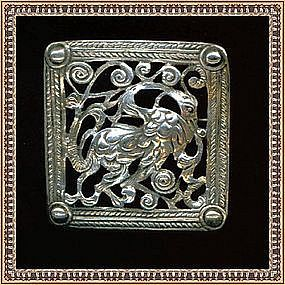 Vintage Boston Peruzzi Sterling Silver Dragon Pin Gino