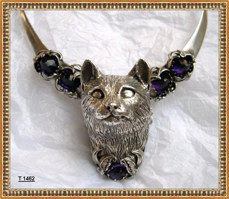 Vintage Bob Stringer Sterling Bold Cat Choker Amethyst