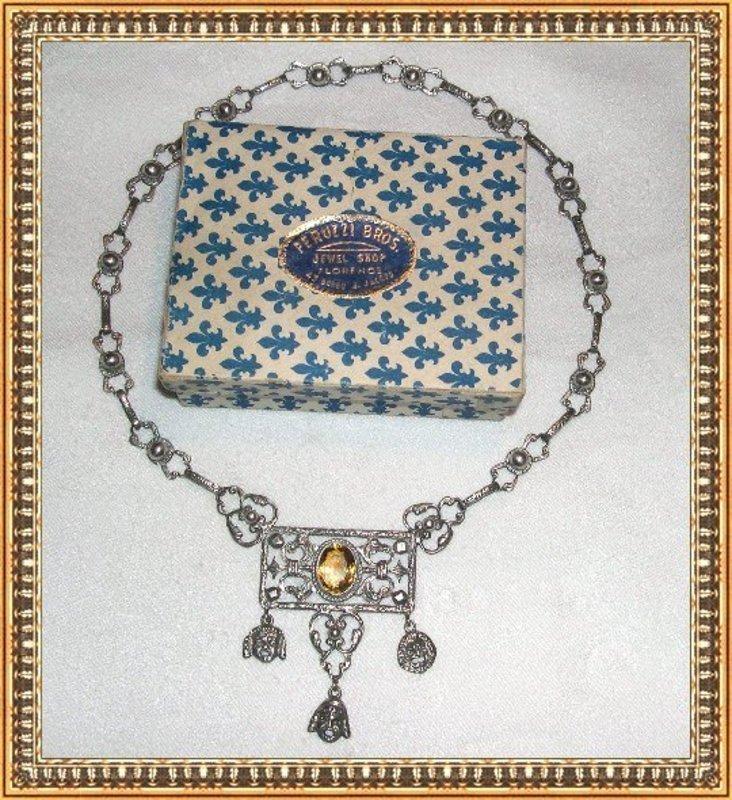 Vintage Peruzzi Silver Necklace Citrine Faces in Box