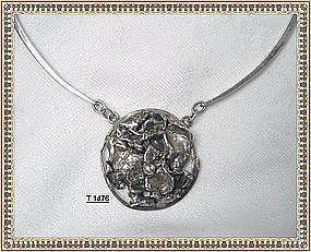 Vintage Mystery Reward Solved Signed Modernist Sterling Necklace