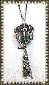 "Vintage Unmarked Jade Orb in Sterling Silver ""Cage"" Necklace"