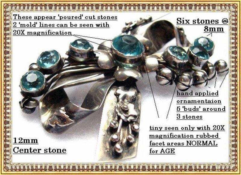 Vintage Hobe Sterling Silver Bow Pin Aquamarine Glass