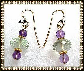 14K Gold Green & Plum Faceted Amethyst Earrings