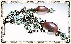 14K Gold Pink Pearl Earrings Color Change Swarovski
