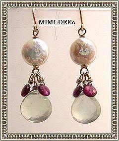 Signed 14K Coin Pearl Prehnite Rhodolite Earrings Gems