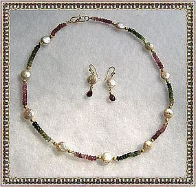18K Gold Tourmaline Necklace Earrings Coin Pearl Duo