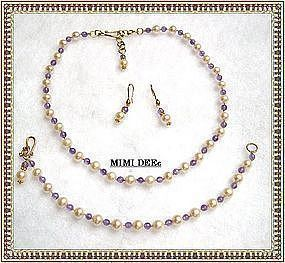 22K Gold on Sterling Pearl Amethyst Necklace Earring Set