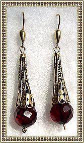 22K Vermeil Sterling Silver Rich Red  Bead Earrings