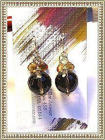 14K Gold Smoky Quartz Citrine Earrings by Mimi Dee