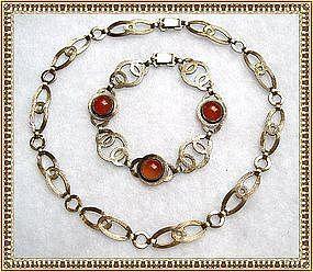 Vintage Sterling Symmetalic Art Deco Carnelian Bracelet