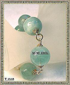 Signed Sterling Big Bold Aquamarine Vermeil Bracelet