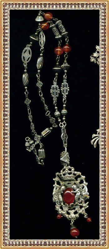 Vintage Florence Peruzzi 800 Silver Carnelian Bracelet