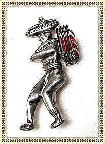 Vintage Pre Assay Sterling Silver Mexico Mexican Man Pin Fig