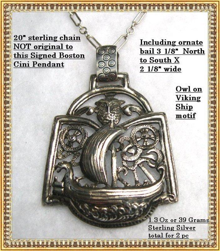 Vintage Boston Cini Sterling Silver Pendant Owl Ship