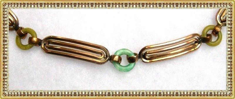 Vintage Art Deco Signed Kollmar & Jourdan Bracelet Rolled Gold