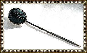 Vintage Unmarked Arts Crafts Scarab Beetle Sterling Stick Pin