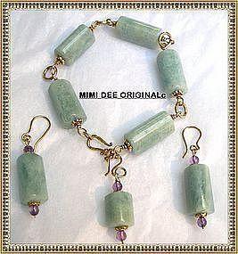 Signed Aquamarine Amethyst Bracelet Earrings Vermeil