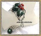 Signed Studio Sterling Silver Bloodstone Coral Bracelet