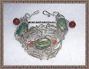 Signed Studio Sterling Silver Metal Sculpture Bracelet