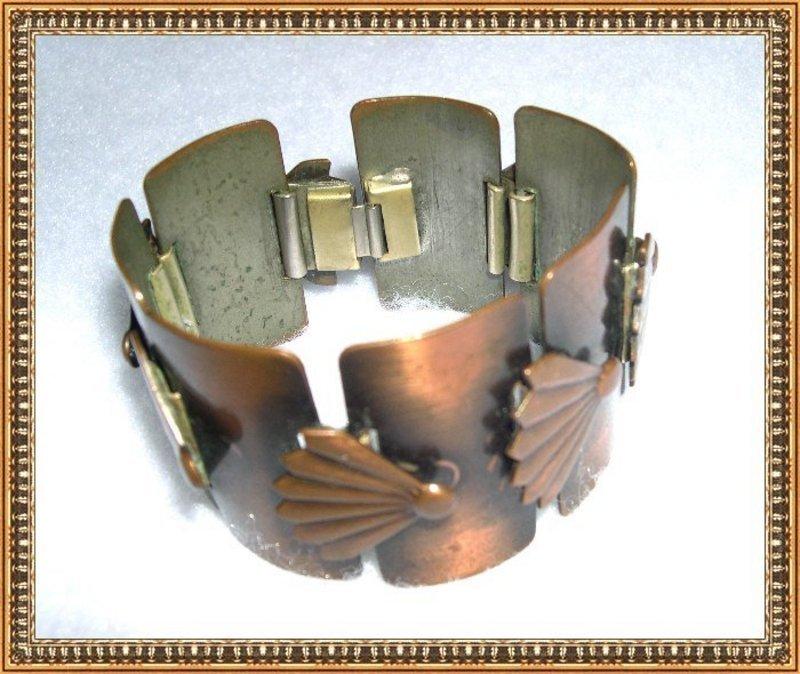 Vintage Copper Modernist Rebajes Bracelet Fan Motif Signed Links
