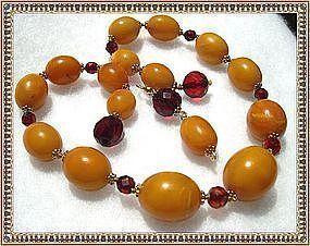 Vintage Antique Butterscotch Amber Necklace Earrings
