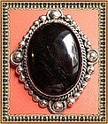 Vintage Sterling Silver Mexican Taxco Pin Pendant Bold Onyx
