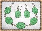 Vintage Etched Green Glass Sterling Silver Bracelet Set