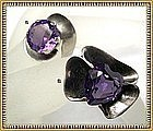 "Vintage Taxco Sterling Sanchez ""Alexandrite"" Ring Duo"