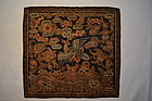 Antique Chinese civil rank badge, embroidered silk, 19c
