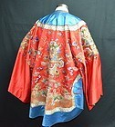 Antique Chinese embroidered red silk dragon robe