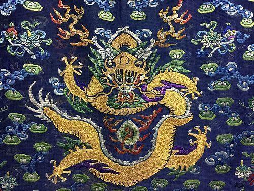 Antique Chinese embroidered summer dragon silk robe - Jifu - Details