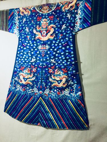 Antique Chinese embroidered summer dragon silk robe - Jifu 2
